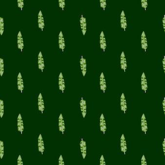 Padrão sem emenda de natureza minimalista com pequeno ornamento de folhas de bananeira trópica verde. fundo preto.