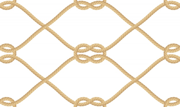 Padrão sem emenda de nó realista corda náutica isolado no branco. textura para produtos impressos ou têxteis, papel de embrulho.
