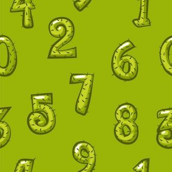 Padrão sem emenda de números de cacto de desenho animado, figuras brilhantes de fundo verde