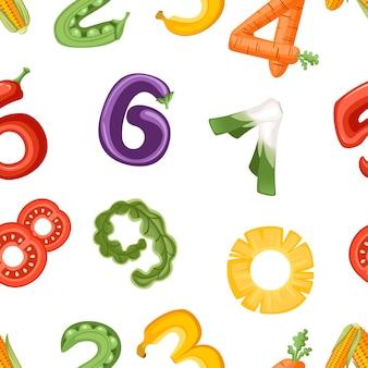 Padrão sem emenda de números em vegetais e frutas estilo food cartoon design ilustração em vetor plana sobre fundo branco.