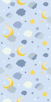 Padrão sem emenda de nuvens e lua azul