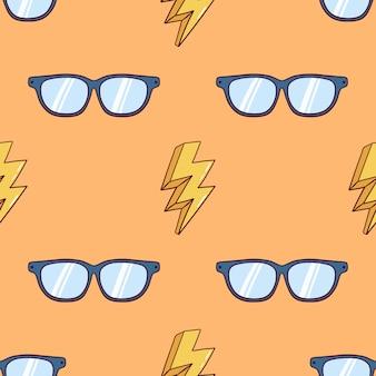 Padrão sem emenda de óculos com decoração de trovão e usando o estilo colorido doodle