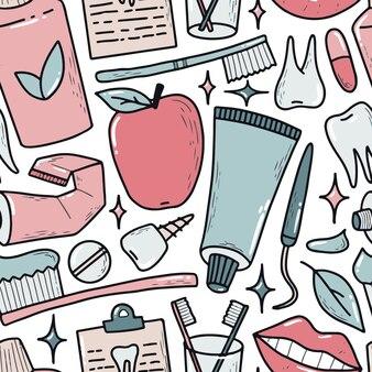 Padrão sem emenda de odontologia com rabiscos desenhados à mão