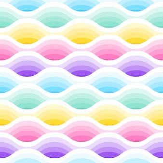 Padrão sem emenda de ondas abstratas em tons pastel