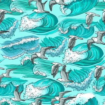 Padrão sem emenda de ondas do mar