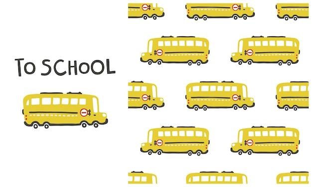 Padrão sem emenda de ônibus escolar retrô