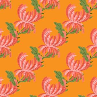 Padrão sem emenda de ornamento de flores de crisântemo de cor rosa. fundo laranja brilhante. estilo simples. impressão plana de vetor para têxteis, tecidos, papel de embrulho, papéis de parede. ilustração sem fim.