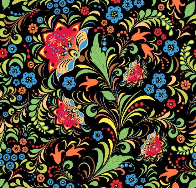 Padrão sem emenda de ornamento floral russo