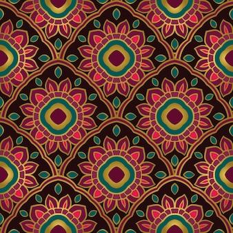 Padrão sem emenda de ornamento oriental colorido de mandalas.