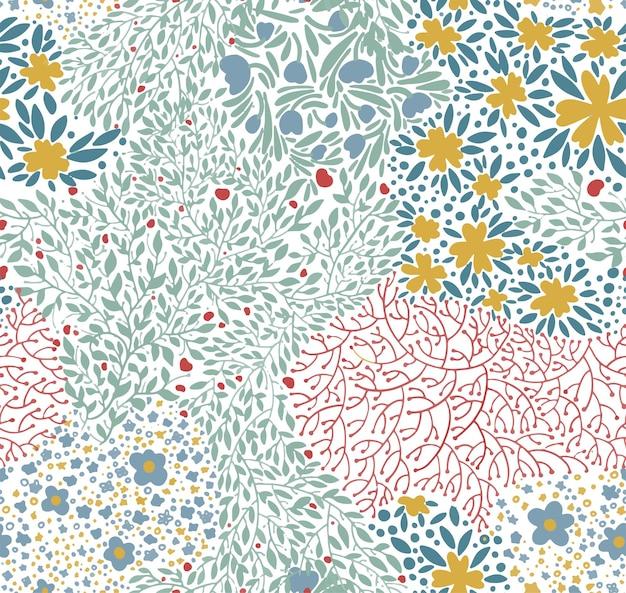 Padrão sem emenda de ornamentos florais. flores em flor, flor de plantas. plano de fundo ou impressão para cartões. primavera e verão florescendo e folhas de ramos verdes, vetor em estilo simples