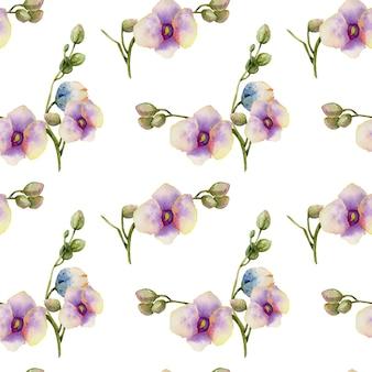 Padrão sem emenda de orquídeas roxas em aquarela