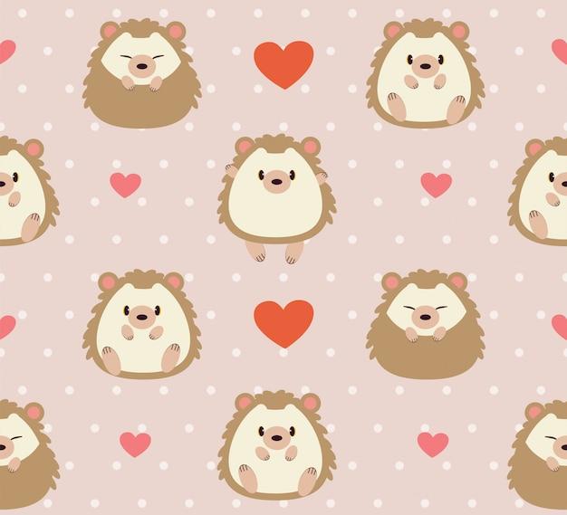 Padrão sem emenda de ouriço fofo e coração rosa
