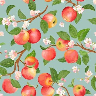 Padrão sem emenda de outono apple. frutas de verão, folhas, flores de fundo vector. ilustração de textura em aquarela para capa, papel de parede tropical, pano de fundo vintage, convite de casamento