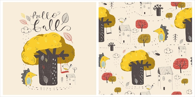 Padrão sem emenda de outono com casa de balanço de carvalho ouriço bonito. ilustração em vetor desenhada à mão