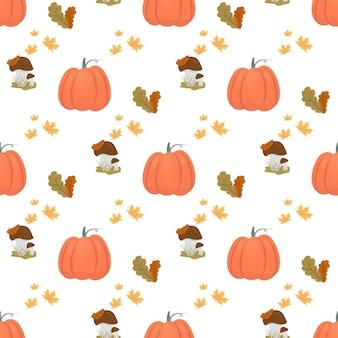 Padrão sem emenda de outono com cogumelos e folhas de abóbora