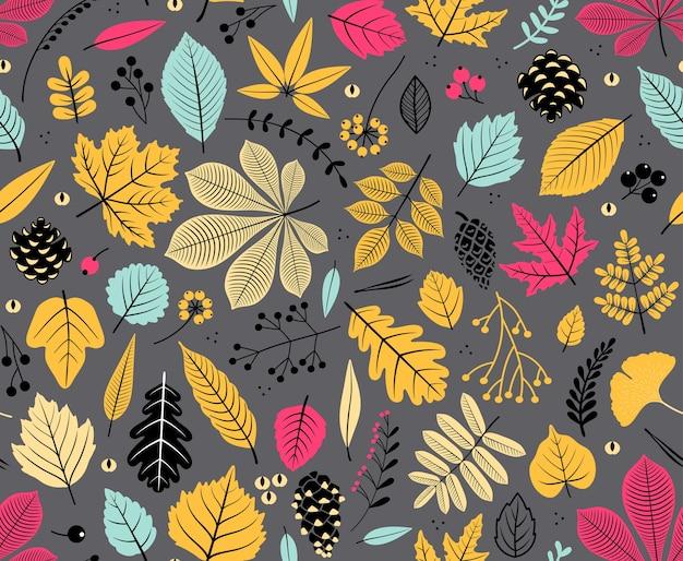 Padrão sem emenda de outono com folha, fundo de folha de outono. textura de folha abstrata. pano de fundo bonito. queda de folhas. folhas coloridas. plano de fundo cinza escuro. o elegante modelo para estampas de moda.
