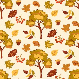 Padrão sem emenda de outono com folhas amarelas e laranja em um fundo bege padrão abstrato de outono