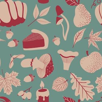Padrão sem emenda de outono com folhas, bagas, cogumelo, maçã, pêra, retro, vetorial, illustratin