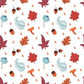 Padrão sem emenda de outono com folhas de cogumelos, bolotas e ilustração vetorial de outono de hadgehog