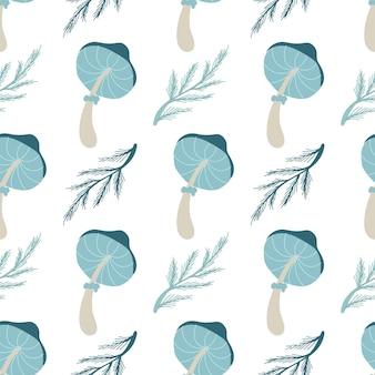 Padrão sem emenda de outono com folhas de cogumelos. ilustração em vetor outono