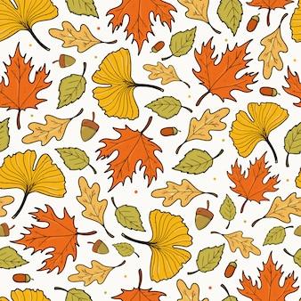 Padrão sem emenda de outono com folhas desenhadas à mão