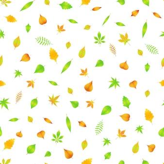 Padrão sem emenda de outono com folhas