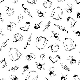 Padrão sem emenda de outono conjunto de itens, papel de parede de vetor doodle estilo outono humor.