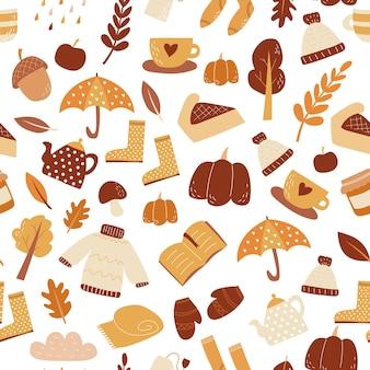 Padrão sem emenda de outono conjunto de itens vetor papel de parede estilo doodle clima de outono