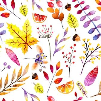 Padrão sem emenda de outono em aquarela
