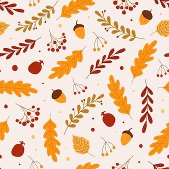 Padrão sem emenda de outono folhas caídas bolotas bagas mão desenhada folhagem outono floresta elementos da natureza