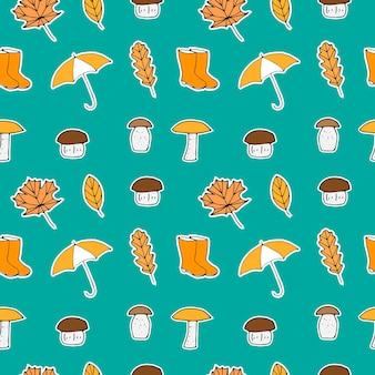 Padrão sem emenda de outono, ilustração vetorial, folhas, guarda-chuva, botas de borracha e cogumelos, desenho à mão, pintado sobre um fundo turquesa