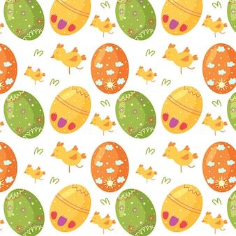 Padrão sem emenda de ovos de páscoa, frango, grama verde. perfeito para papel de parede, papel de presente, preenchimentos de padrão, plano de fundo de página da web, primavera e cartões de páscoa
