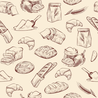 Padrão sem emenda de padaria. croissant de pão pastelaria pastelaria pão de trigo fatiado rolo branco desenhado vintage croqui