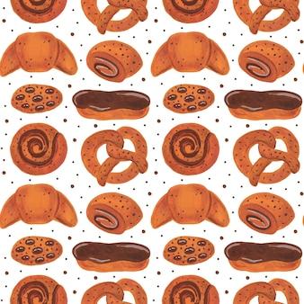 Padrão sem emenda de padaria. rosquinha de rosquinha com rosquinha de pretzel e rosquinha de pãozinho biscoitos eclair comida aquarela