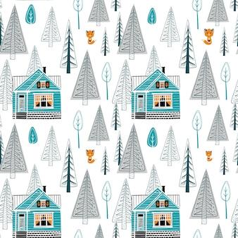 Padrão sem emenda de paisagem de inverno com casa muito vermelha e floresta em fundo branco