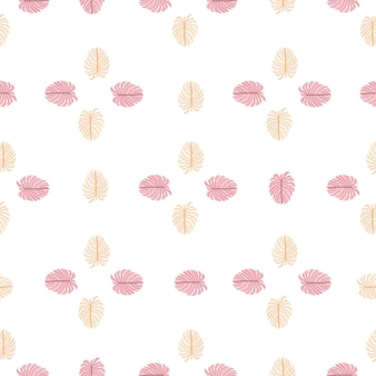 Padrão sem emenda de palma exótica de natureza isolada com ornamento de folhas de monstro rosa doodle. estilo simples.