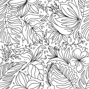 Padrão sem emenda de palmeira e flores tropisiana em estilo doodle