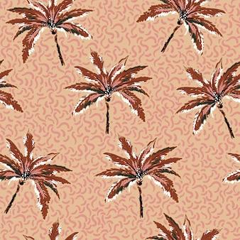 Padrão sem emenda de palmeiras pintadas à mão em texturas abstratas linha fundo marrom claro vetor eps10, design para moda, tecido, têxtil, papel de parede, capa, web, embalagem e todas as impressões