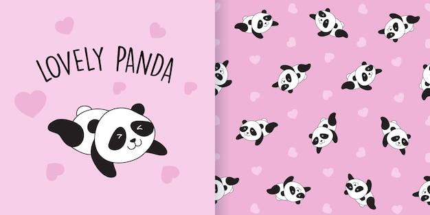 Padrão sem emenda de panda bonito