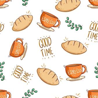 Padrão sem emenda de pão e uma xícara de café com estilo doodle