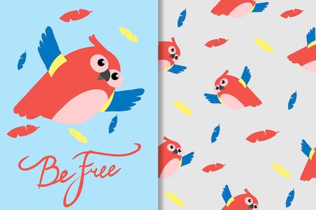 Padrão sem emenda de papagaio pássaro bonito dos desenhos animados