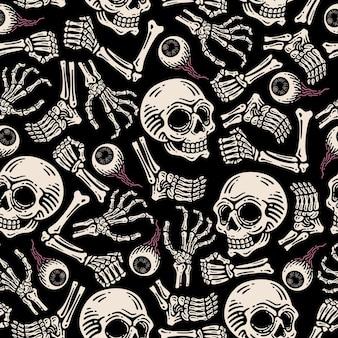 Padrão sem emenda de papel de parede de crânio, globo ocular e ossos