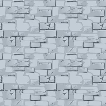 Padrão sem emenda de parede de pedra cinza. plano de fundo texturizado de uma velha parede de tijolos.