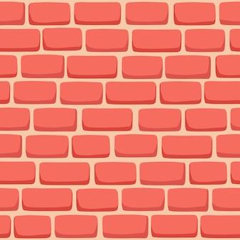 Padrão sem emenda de parede de tijolo de desenho animado na cor coral