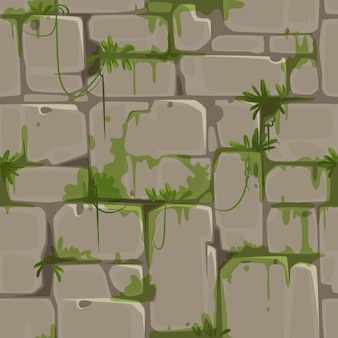Padrão sem emenda de parede de tijolo para vetor de tema de selva
