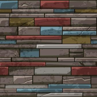 Padrão sem emenda de parede velha de tijolo de pedra, textura multicolorida para papel de parede.