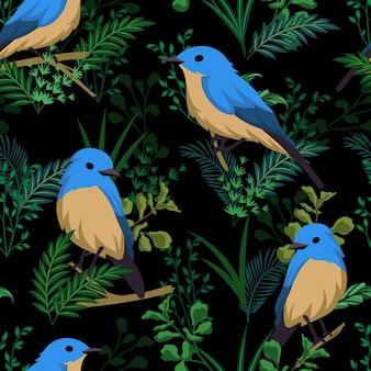 Padrão sem emenda de pássaro azul com plantas tropicais