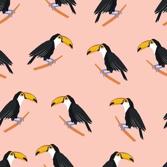 Padrão sem emenda de pássaro tropical tucano com ilustração vetorial de estoque de tucanos isolada no branco