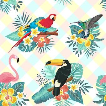 Padrão sem emenda de pássaro tropical