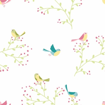 Padrão sem emenda de pássaros coloridos e plantas na ilustração desenhados à mão em estilo simples dos desenhos animados em tons pastel